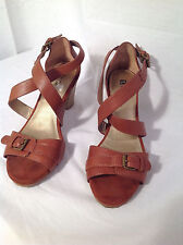 Womens White Mountain Brown Pebbled Leather High Heel Strappy Sandals Size 8.5