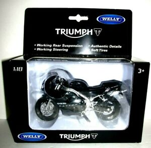 New 1:18 Daytona 955i Black Motorcycle Sport Bike Toy Welly Triumph 12176 Model