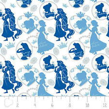 Disney Princesses Shadow Silhouette blue Camelot 100% cotton fabric by the yard