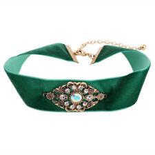 Green Velvet Ribbon Neck Choker Bronze Vintage stones decoration Necklace