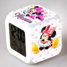 Reveil cube led lumière nuit alarm clock minnie personnalisé prénom réf 19