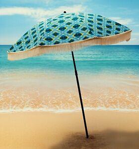 "Green and Blue Fun Beach Umbrella by BeachBRELLA® 60""round 100%UV Vintage Feel"