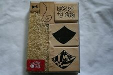 Lot of boxed wooden rubber stamps kites saying spring summer scrapbooking