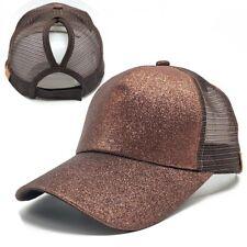 Unisex Adjustable Ponytail Mesh Glitter Trucker Baseball Cap Hat For Women Men