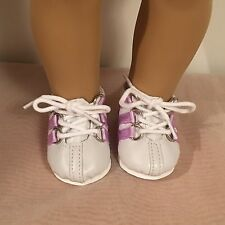 SOPHIA'S 18 inch doll WHITE W/ LAVENDER STRIPES SNEAKERS shoes fit American Girl