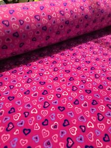 Polar Fleece Heart Print - Anti Pill Super Soft & Warm Perfect for Blankets etc