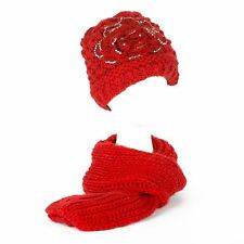 Winter Chunky Knit Beanie Hat with Fleece Lining & Scarf Set with Glittery