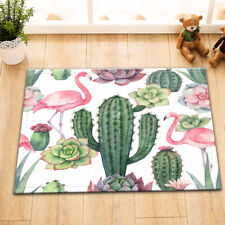 Watercolor Flamingo Cactus Welcome Door Mat Non-Slip Kitchen Bathroom Floor Rug
