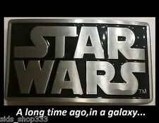 Original STAR WARS metal logo belt buckle Pewter color NEW Cosplay or just wear