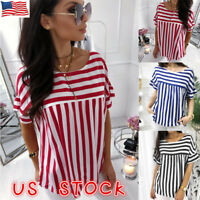 US Women Summer Short Sleeve Striped Loose Top Blouse Ladies Casual Tops T-Shirt