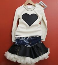 NWT Ooh La La Couture Heart Motif Top and Denim Tulle Skirt Set ~ Size 2T