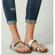 Silver Madden Girl Flat Sandals Shoes
