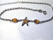 "Wood Starfish Ovals Anklet 9-11"" #2 15Mm Hawaiian Rhodium Solid 925 Silver Koa"