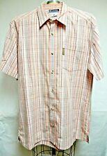 Men's Columbia XCO Orange Cotton Short Sleeve Button Front Camp Shirt SZ L EUC