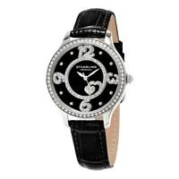 Stuhrling 760.02 760 02 Chic Crystals Heart Black Leather Strap Womens Watch
