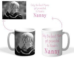 Personalised Printed Mug, Mums promoted to Nanny, Christmas Grandma photo gift