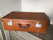 Vintage 1930/40s Utilitarian Tan Brown Suitcase with Key-Prop/Storage #6328