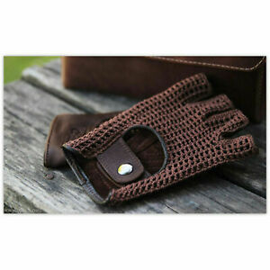 Retro Real Leather Men Fingerless Driving cycle Gloves Unlined Chauffeur