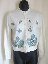 HELEN SUE Women's Vintage Ivory Rhinestone Embroidered Pearl Button Sweater XS