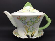 Vintage / Art Deco China Teapot with stand by Royal Albert Crown China. c.1934
