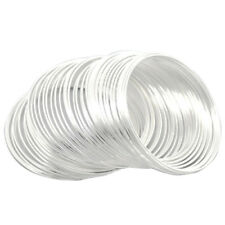 """100Loops Silver Plated Memory Beading Wire for Bracelet 50mm-55mm(2""""-2 1/8"""" H7M3"""