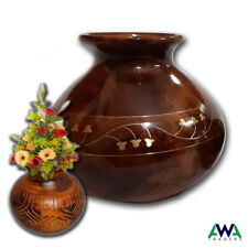 Wooden Flower Vase Hand Made Home Decoration Brass Worked Table Decoration