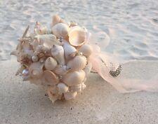 XO Bouquets Bride  Bouquet Sea Shells Bridesmaid  Beach Wedding 18 Inch Bouquet