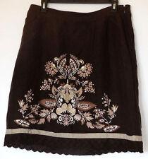 Anne Taylor Loft Petites Linen Blend Brown Floral Embroidered Boho Skirt 12P