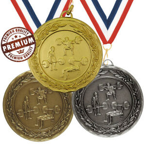 POWERLIFTING MEDAL 50mm EMBOSSED, TOP QUALITY, FREE RIBBON, GOLD SILVER BRONZE