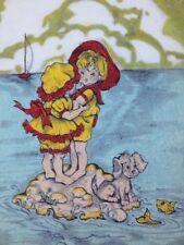 "Vtg 6x8"" Painting on Felt Children Marooned on Ocean Island Dog Fish Sailboat"