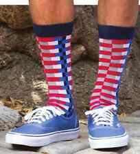 Mens Zipper Stripe Socks Red White & Blue Americana 10-13 Shoe Size 6-12 K Bell