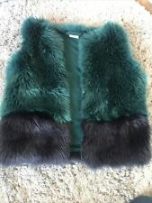 Girls Age 12 - 18months Faux Fur Gilet Jacket Green Next Great Condition