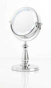 Danielle Creations LED LIT Pedestal Chrome Vanity Mirror 5x Magnification D128