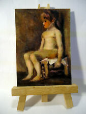 Nude Study Little Girl ACEO Original PAINTING by Ray Dicken a Vincent Van Gogh