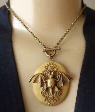 Nocturnal Vintage Necklace Huge Brass Bat Locket Pendant
