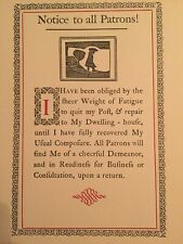 2 Repro,Reprint Williamsburg 1700's Sign,Notice to Patron of Bar,Dwelling,Closed
