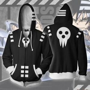 Anime Soul Eater Death the kid Cosplay Costume Zip Up Hoodie Jacket