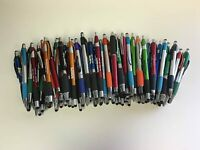 Bulk Lot of 100 Pens - Misprint Plastic Retractable Ball Point Pens with Stylus