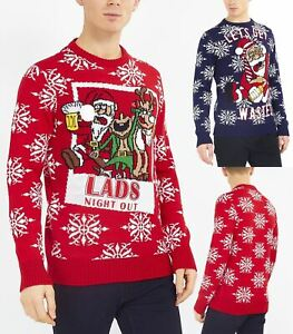 Mens Christmas Jumper Red Santa Xmas Wasted Lads Size S M L XL Navy Novelty