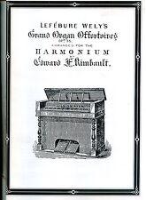 HARMONIUM MUSIC LEFEBURE WELY'S GRAND OFFERTOIRES OP35 ARR. FOR THE HARMONIUM