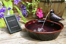 Bird Bowl Water Feature Fountain Waterfall Solar Power Red Glazed Ceramic Garden