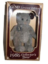 Vintage Gund 1986 Collectors Gray Jointed Bear Tag Box