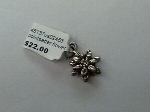 Sterling Silver pointsetter flower charm/ Pendant New RRP $22