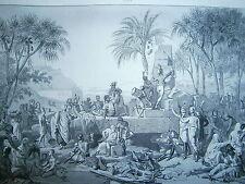 Gravure 19° Guerre révolution Halte de l'armée Française à Sienne Egypte 1799