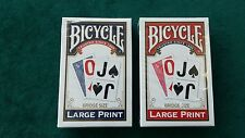 2 Bicycle Blue & Red Large Print Bridge Size Playing Cards Decks Brand New