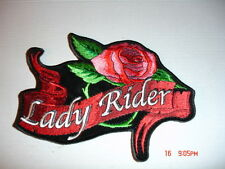 LADY RIDER BANNER AND RED ROSE EMBROIDERED PATCH- 6 x 4