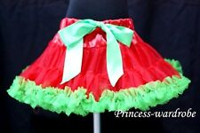 Red Green Pettiskirt Party Skirt Pageant Dance Tutu Dress For Teen Adult 8-10Y