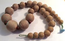 Modern wood and cotton yarn graduated bead necklace, orange & pale blue