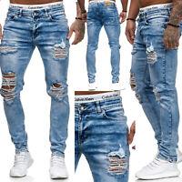 Jeans Denim Slim Fit Zerrissen Used Destroyed Design Light Blue Code47 Herren