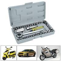 """40x Socket Adaptors Set 1/4""""&3/8""""Drive Ratchet Car Wrench Flexiable Repair Kits"""